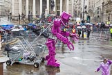 Lord Mayor's Show 2013: 59-Recycling in the City- The Binbot is joined again by his drumming street sweepers to celebrate 20th anniversary of the City's unique Clean City Awards scheme.. Press stand opposite Mansion House, City of London, London, Greater London, United Kingdom, on 09 November 2013 at 11:32, image #743