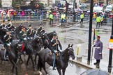 Lord Mayor's Show 2013: 76- 71 (City of London) Signal Regiment-provides military command-and -control in support of Uk operations. The Regiment is today represented by  the Riding Detachment of its Lincoln's Inn-based, 68 (Inns of Court & City and Essex Yeomanry) Signal Squadron.. Press stand opposite Mansion House, City of London, London, Greater London, United Kingdom, on 09 November 2013 at 11:42, image #912