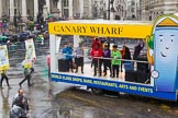 Lord Mayor's Show 2013: 79-Canary Wharf Group- has been performing since the inception of the East London estate to create a vibrant heart to the local and business community.. Press stand opposite Mansion House, City of London, London, Greater London, United Kingdom, on 09 November 2013 at 11:42, image #927
