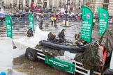 Lord Mayor's Show 2013: 98-Royal Marines Reserve (City of London)-is reponsible for recruiting and training individual Reservist commandos to earn the prestigious Green Beret.. Press stand opposite Mansion House, City of London, London, Greater London, United Kingdom, on 09 November 2013 at 11:53, image #1185