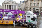Lord Mayor's Show 2013: 107-Premier Inn supporting Great Ormond Street Hospital- Premier Inn , the Uk's largest hotel brand, selected Great Ormond Street Hospital as its charity partner in 2012.. Press stand opposite Mansion House, City of London, London, Greater London, United Kingdom, on 09 November 2013 at 11:57, image #1248