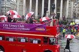 Lord Mayor's Show 2013: 120-City Livery Club-is a private daytime club for Liverymen and members of related City organisations. This year it celebrates its centenary.. Press stand opposite Mansion House, City of London, London, Greater London, United Kingdom, on 09 November 2013 at 12:04, image #1356