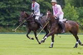 7th Heritage Polo Cup semi-finals: John Martin, Team Silver Fox USA, riding back to centre beside Nico Talamoni, Team Emerging Switzerland.. Hurtwood Park Polo Club, Ewhurst Green, Surrey, United Kingdom, on 04 August 2012 at 11:24, image #41