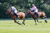 7th Heritage Polo Cup semi-finals: John Martin, Team Silver Fox USA, playing to goal, followed by Nico Talamoni, Team Emerging Switzerland.. Hurtwood Park Polo Club, Ewhurst Green, Surrey, United Kingdom, on 04 August 2012 at 11:37, image #67