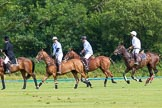 7th Heritage Polo Cup semi-finals: Back to centre, Pepe Riglos on the far right.. Hurtwood Park Polo Club, Ewhurst Green, Surrey, United Kingdom, on 04 August 2012 at 16:14, image #317