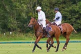 7th Heritage Polo Cup semi-finals: Pedro Harrison riding back to centre, Sebastian Funes following.. Hurtwood Park Polo Club, Ewhurst Green, Surrey, United Kingdom, on 04 August 2012 at 16:53, image #338