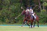 7th Heritage Polo Cup finals: Leigh Fisher being ridden off by Barbara P Zingg.. Hurtwood Park Polo Club, Ewhurst Green, Surrey, United Kingdom, on 05 August 2012 at 15:15, image #134