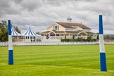 DBPC Polo in the Park 2012: The clubhouse seen from the goal line of the blue pitch on the Western side of the grounds.. Dallas Burston Polo Club, Stoneythorpe Estate, Southam, Warwickshire, United Kingdom, on 16 September 2012 at 09:45, image #13