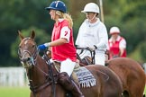 DBPC Polo in the Park 2012: Phoenix Polo Team #2, Jeanette Jones, and Rathbones Polo Team #2, Alex Boucher.. Dallas Burston Polo Club, Stoneythorpe Estate, Southam, Warwickshire, United Kingdom, on 16 September 2012 at 11:39, image #95