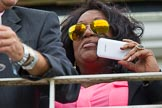 DBPC Polo in the Park 2012: Soul Diva Kym Mazelle watching the Jousting Display.. Dallas Burston Polo Club, Stoneythorpe Estate, Southam, Warwickshire, United Kingdom, on 16 September 2012 at 14:12, image #177