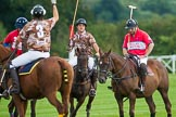 DBPC Polo in the Park 2012: Royal Artillery #3. Karl-Ude Martinez, DBPC #3, Mark Weller, Royal Artillery #2, Alex Vent, and DBPC #4, Will Wood.. Dallas Burston Polo Club, Stoneythorpe Estate, Southam, Warwickshire, United Kingdom, on 16 September 2012 at 18:30, image #322