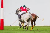DBPC Polo in the Park 2012: DBPC #2, Captain William Mawby, and Royal Artillery #3, Karl-Uwe Martinez.. Dallas Burston Polo Club, Stoneythorpe Estate, Southam, Warwickshire, United Kingdom, on 16 September 2012 at 18:34, image #324