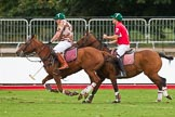 DBPC Polo in the Park 2012: Royal Artillery #1, Bombardier Richard Morris, and DBPC #2, Captain William Mawby.. Dallas Burston Polo Club, Stoneythorpe Estate, Southam, Warwickshire, United Kingdom, on 16 September 2012 at 18:54, image #333