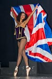 Grand Opening of the DBPC IXL Event Centre: JParmoire's Folies - Amber Stephen with the Union Jack.. Dallas Burston Polo Club, Stoneythorpe Estate, Southam, Warwickshire, United Kingdom, on 05 December 2013 at 20:13, image #129