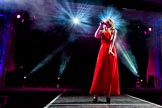 Grand Opening of the DBPC IXL Event Centre: Ava Leigh on stage.. Dallas Burston Polo Club, Stoneythorpe Estate, Southam, Warwickshire, United Kingdom, on 05 December 2013 at 21:16, image #163