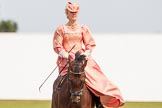 DBPC Polo in the Park 2013, side saddle riding demonstration by the The Side Saddle Association.. Dallas Burston Polo Club, , Southam, Warwickshire, United Kingdom, on 01 September 2013 at 12:51, image #223