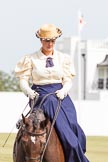 DBPC Polo in the Park 2013, side saddle riding demonstration by the The Side Saddle Association.. Dallas Burston Polo Club, , Southam, Warwickshire, United Kingdom, on 01 September 2013 at 13:05, image #301