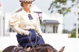 DBPC Polo in the Park 2013, side saddle riding demonstration by the The Side Saddle Association.. Dallas Burston Polo Club, , Southam, Warwickshire, United Kingdom, on 01 September 2013 at 13:05, image #302