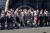 Remembrance Sunday 2012 Cenotaph March Past: Group A7 - Royal Northumberland Fusiliers  and A8 -  The Duke of Lancaster's Regimental Association.. Whitehall, Cenotaph, London SW1,  United Kingdom, on 11 November 2012 at 11:49, image #582