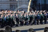 Remembrance Sunday 2012 Cenotaph March Past: Groups A16 - A19: Royal Irish Regiment Association/ Durham Light Infantry Association/King's Royal Rifle Corps Association/Royal Green Jackets Association.. Whitehall, Cenotaph, London SW1,  United Kingdom, on 11 November 2012 at 11:50, image #666