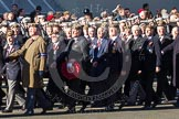 Remembrance Sunday 2012 Cenotaph March Past: Group A25 - Argyll & Sutherland Highlanders Regimental Association and A26 - Grenadier Guards Association.. Whitehall, Cenotaph, London SW1,  United Kingdom, on 11 November 2012 at 11:52, image #748