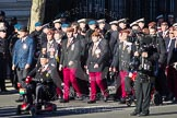 Remembrance Sunday 2012 Cenotaph March Past: Group  B11 - Royal Dragoon Guards and B12 - Kings Royal Hussars Regimental Association.. Whitehall, Cenotaph, London SW1,  United Kingdom, on 11 November 2012 at 11:56, image #875