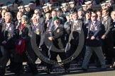 Remembrance Sunday 2012 Cenotaph March Past: Group D1 - South Atlantic Medal Association (www.sama82.org.uk), veterans of the Falklands war in 1982 and islanders from that time. The lady with the wreath and the grey hat is Sukey Cameron, the United Kingdom - Falkland Islands Government Representative. Three rows behind her, in the green and glue uniform, two Norwegian officers, Kevan Watton and Jake Husker.. Whitehall, Cenotaph, London SW1,  United Kingdom, on 11 November 2012 at 12:04, image #1207