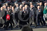 Remembrance Sunday 2012 Cenotaph March Past: Group M17 - St Andrew's Ambulance Association, and M18 - Firefighters Memorial Charitable Trust.. Whitehall, Cenotaph, London SW1,  United Kingdom, on 11 November 2012 at 12:11, image #1542