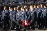 Remembrance Sunday 2012 Cenotaph March Past: Group M48 - Girlguiding London & South East England.. Whitehall, Cenotaph, London SW1,  United Kingdom, on 11 November 2012 at 12:15, image #1715