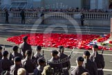 Remembrance Sunday 2012 Cenotaph March Past: Hundreds of wreaths at the Cenotaph after the March Past.. Whitehall, Cenotaph, London SW1,  United Kingdom, on 11 November 2012 at 12:25, image #1794