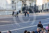Whitehall, and the southern entrance gate to Downing Street, in the morning of Remembrance Sunday.