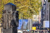 The Monument to the Women of World War II in Whitehall, unveiled at the 60th anniversary of the end of the Second World War by Queen Elizabeth II. Behind two big screens for the BBC live broadcast of tge Cenotaph Ceremony.