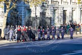 Detachments of various services on the way to the Cenotaph: RAF, Household Cavalry, Royal Marines.