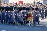 Senior Drum Major Matthew Betts, Grenadier Guards, arriving with another of the Massed Bands of the Guards.