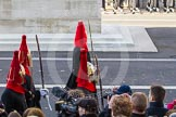 A detachment from the Blues and Royals (Household Cavalry) marching past the spectators in front of the Cenotaph.