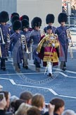 Drum Major Stephen Staite, Grenadier Guards, leading another group of the Massed Bands of the Guards Divisions.