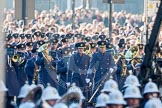 The Central Band of the Royal Air Force arriving from the western side of Whitehall.