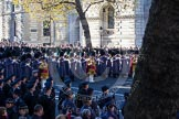 The western side of Whitehall at 10:36am, the Massed Bands of the Guards Divisions playing.