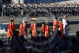 The Choir, led by the Cross Bearer, Jack Fonseca-Burtt, followed by 10 children of the Chapel Royal, getting into position on the south-eastern side of the Cenotaph.