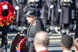 HM The Queen, about to lay her wreath at the Cenotaph.