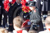 HM The Queen, about to lay her wreath at the Cenotaph. On the left Lieutenant Commander Andrew Canale, Royal Navy, as Equerry.