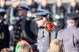 The golden cross with the poppies, held by the cross bearer, behind it, and out of focus, HRH The Duke of Cambridge.