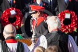 HRH The Earl of Wessex about to lay his wreath at the Cenotaph. In front, and out of focus, the Bishop of London.