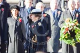 HRH The Princess Royal saluting after having laid her wreath at the Cenotaph.