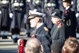 HRH Prince Michael of Kent about to lay his wreath at the Cenotaph. Behind him, and out of focus, HM The Queen.
