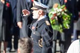 HRH Prince Michael of Kent saluting after having laid his wreath at the Cenotaph.