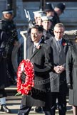 Ed Miliband, as Leader of the Opposition, about to lay a wreath at the Cenotaph.