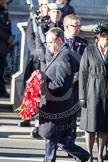Nigel Dodds, as the Deputy Leader of the Democratic Unionist Party, about to lau a wreath at the Cenotaph.