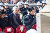 The High Commissioners lay there wreaths at the Cenotaph, partly out of view of the camera. In view the High Commissioners of Uganda, Trinidad and Tobago, and Jamaica.