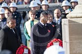 The High Commissioners lay there wreaths at the Cenotaph, partly out of view of the camera. In view the High Commissioners of Malawi and Kenya.